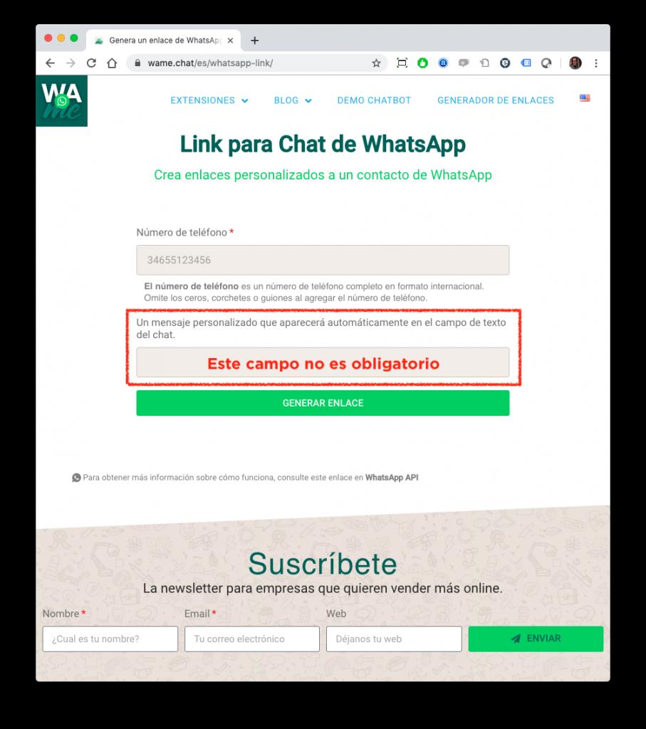 mensaje no obligatorio whatsapp